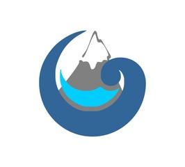 Ocean and mountain logo