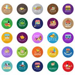 Market Food Icons Set - Vector Illustration