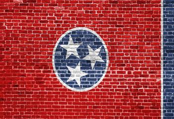 Tennessee US flag painted on old vintage brick wall