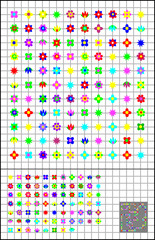 Logic puzzle on a square paper. Join flowers by straight line to get closed circuit. Each flower you have to cross once. Vector image.