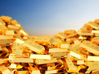 Heap of gold bars