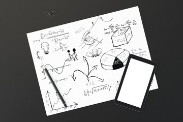 White paper with business notes, pen and blank cell phone screen