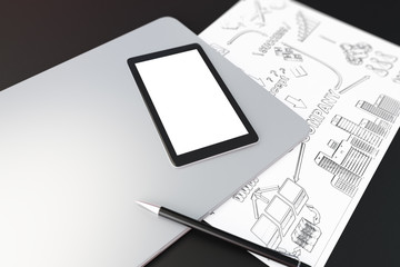 Blank digital tablet screen on laptop, paper with business schem