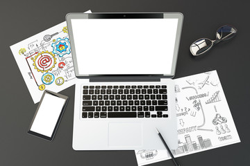 Blank laptop screen, cell phone, business notes and glasses, 3D