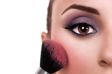 Eye make up model and blush makeup woman