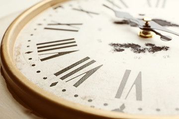 Round vintage wall clock, close up