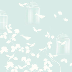 Pigeons birds with leaves and cage. Vector