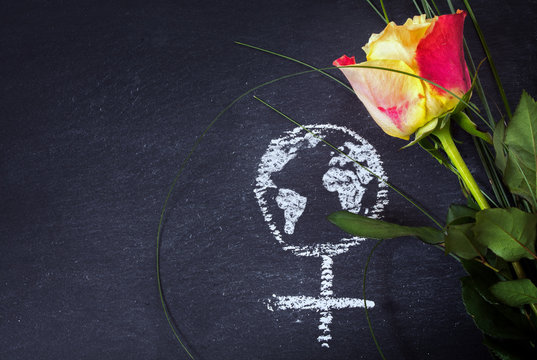 Rose and a chalk drawn female sign with earth globe on a blackboard
