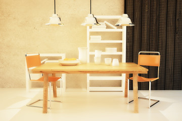 Dining table and chairs in room