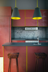 Red kitchen with yellow edging