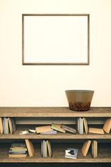 Blank frame and wooden bookshelf