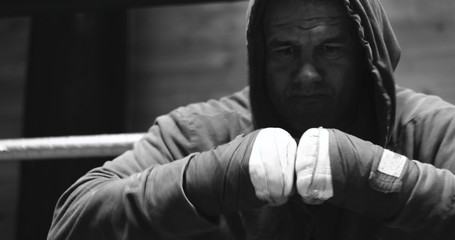 Fighting preparation. Cropped shot of a ripped fighter wrapping