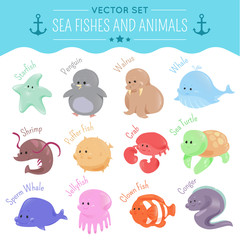 Vector sea fishes and animals