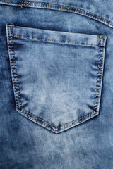 new clean jeans background or texture with pocket