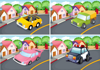 Four scenes of neighborhood with car on the road
