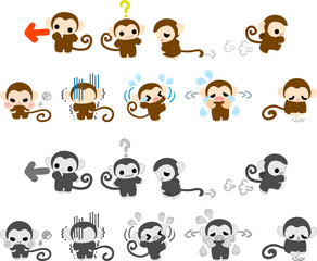 The various icons of pretty monkeys