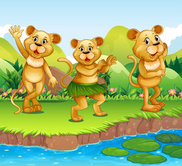 Lions dancing by the river