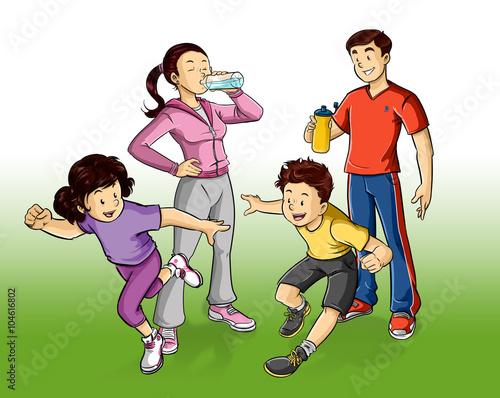 Fin de samana saludable con familia de mama papa e hijos haciendo