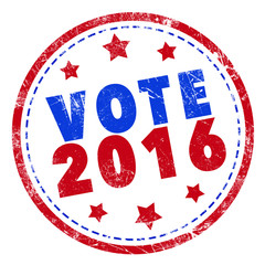 Vote 2016 word stamp text on white background