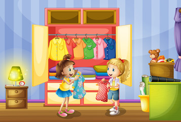 Two girls choosing clothes from closet