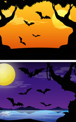 Background scenes with bats flying at twilight