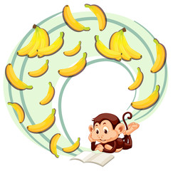 Monkey reading about banana