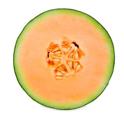 A half of cantaloupe melon isolated on white background.