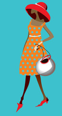Woman in polka-dot dress. Fashion illustration.