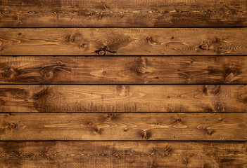 Medium brown wood texture background viewed from above. The wooden planks are stacked horizontally and have a worn look. This surface would be great as design element for a wall, floor, table etc… Wall mural
