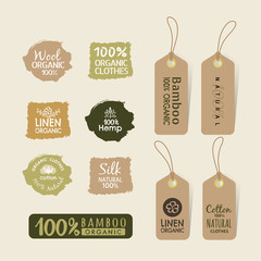 Set of eco friendly fabric tag labels collection design