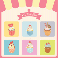 Vector cupcakes menu decoration with color box frame and awning in bakery shop.Pink border