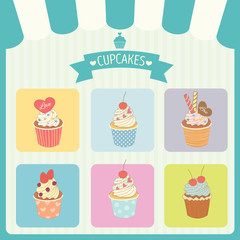 Vector cupcakes menu decoration with color box frame and awning in bakery shop.Green border