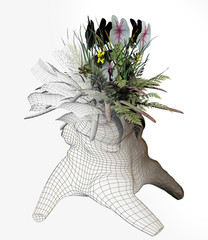 digital rendered illustration of an arrangement of flowers growing out of an old tree stump