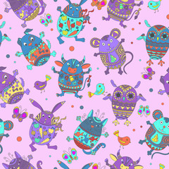 Seamless pattern with Easter eggs in the shape of animals, color figures on pink background