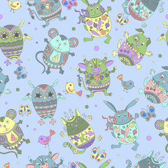 Seamless pattern with Easter eggs in the shape of animals, color figures on blue background