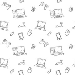 A vector seamless pattern of hand drawn doodles of electronic gadgets and devices.
