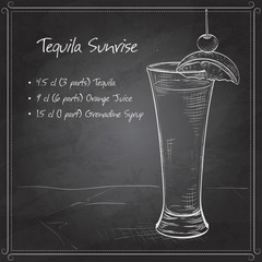 Tequila sunrise realistic cocktail on black board