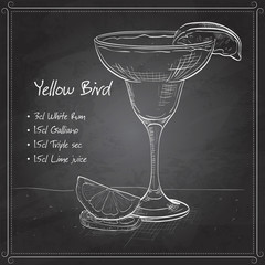 Yellow Bird is a cocktail on black board