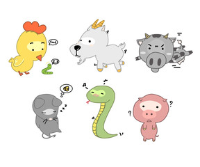 cute hand drawn animals set