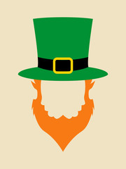 Face symbol of leprechaun with green hat