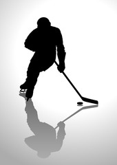 Silhouette illustration of a hockey player