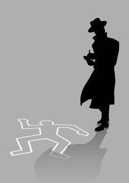 Silhouette illustration of a detective on crime scene