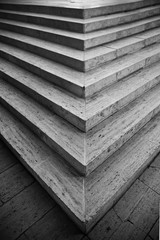 Cose-up of stairs in black and white