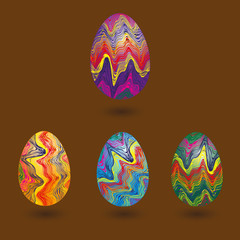 Set eggs with abstract pattern Illustration set of four eggs with an openwork pattern on brown background with shadows