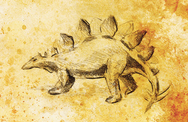 Stegosaurus pencil drawing on old paper, vintage paper and old structure with color spots. Original hand draw.