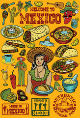 Hand drawn of Mexican food