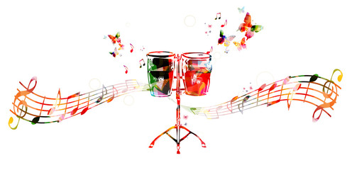 Colorful drums design. Music background