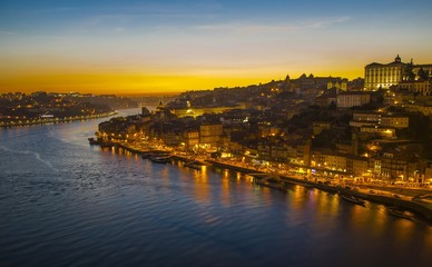 Porto view, Portugal (view of Ribeira and Douro river) at dusk