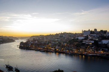 Porto view, Portugal (view of Ribeira and Douro river) before dusk