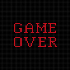 Game over. Vector pixel text message